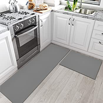 """DEXI Kitchen Rugs and Mats Cushioned Anti Fatigue Comfort Runner Mat for Floor Rug Waterproof Standing Rugs Set of 2,17""""x29""""+17""""x59"""", Grey"""