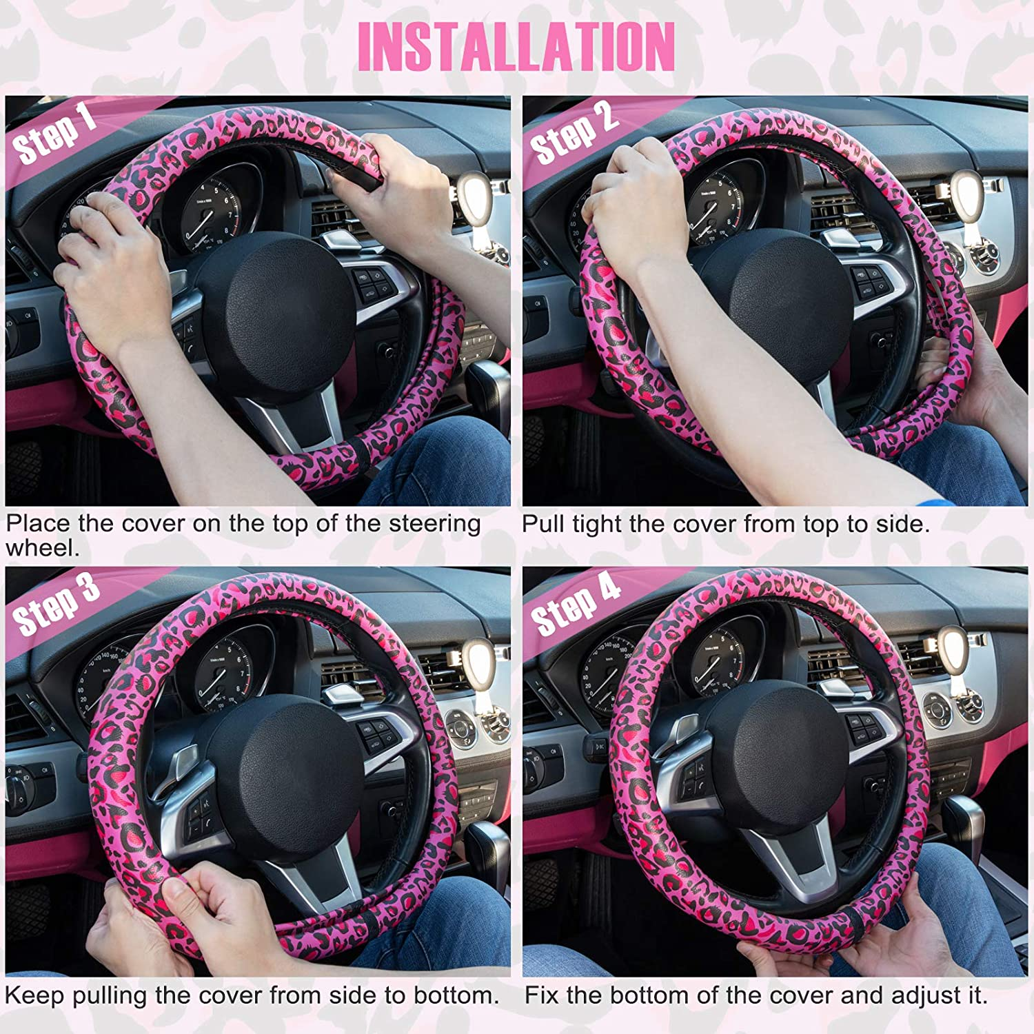Anti Slip Auto Wheel Protector COFIT Car Steering Wheel Cover Leopard Print for Women Lady Black Golden Leopard Pattern Universal Fit Vehicles 15 1//2-16 inch