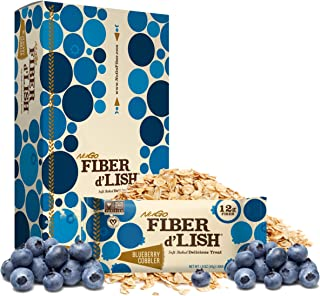 NuGo Fiber d'Lish Blueberry Cobbler, 12g High Fiber, Vegan, 150 Calories, 16 Count