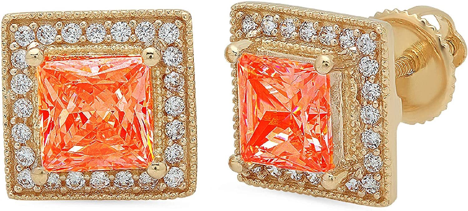 Clara Pucci 2.4 ct Brilliant Princess Round Cut Halo Solitaire VVS1 Flawless Red Simulated Diamond Gemstone Pair of Solitaire Stud Screw Back Earrings Solid 18K Yellow Gold