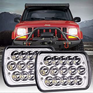 Yorkim 5x7 LED Headlights H6054 Headlight 7x6 inch Sealed Beam Square Headlamp with High Low Beam Dot Lights for Jeep Wran...