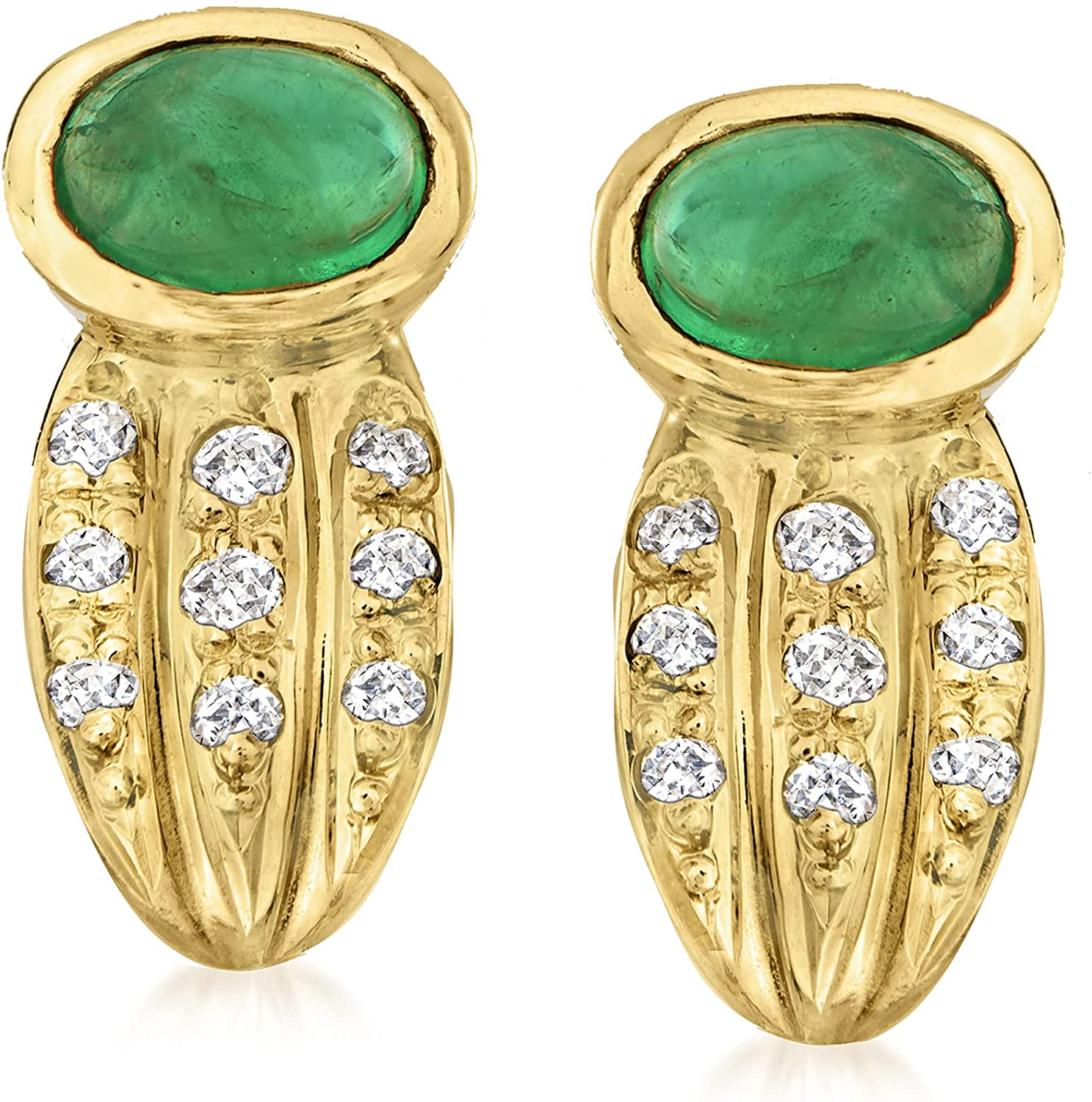 Ross-Simons C. 1990 Vintage 1.03 ct. t.w. Emerald Clip-On Earrings With .16 ct. t.w. Diamonds in 18kt Yellow Gold