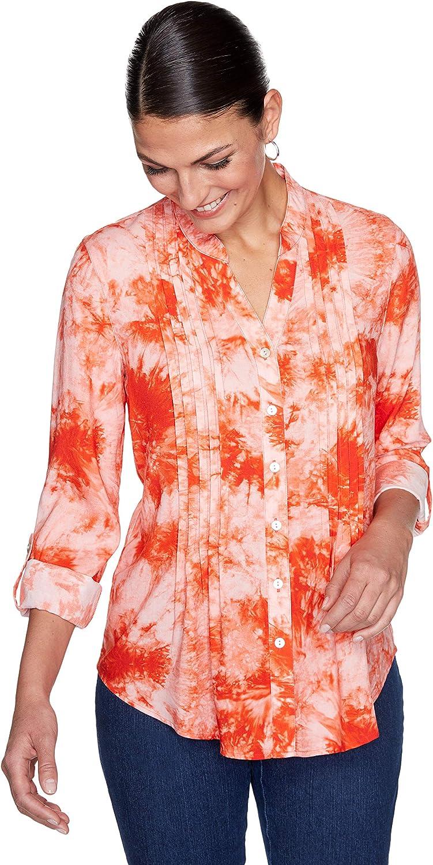 Ruby Rd. Women's Vibrant Tie Dye Button-Down Top