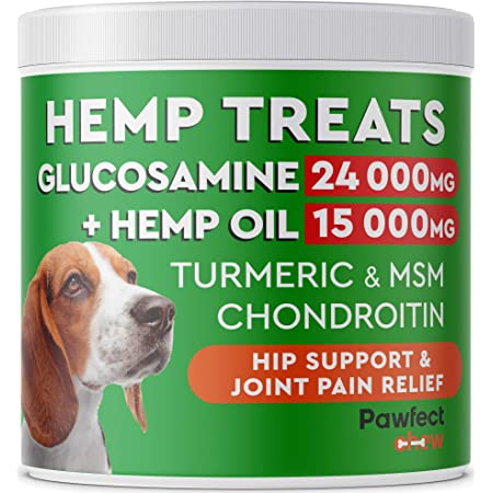 PawfectChew Hemp + Glucosamine Treats for Dogs - Made in USA Hip & Joint Supplement w/Hemp Oil Chondroitin MSM Turmeric - Natural Pain Relief - All Breeds Sizes - 120 Soft Chews