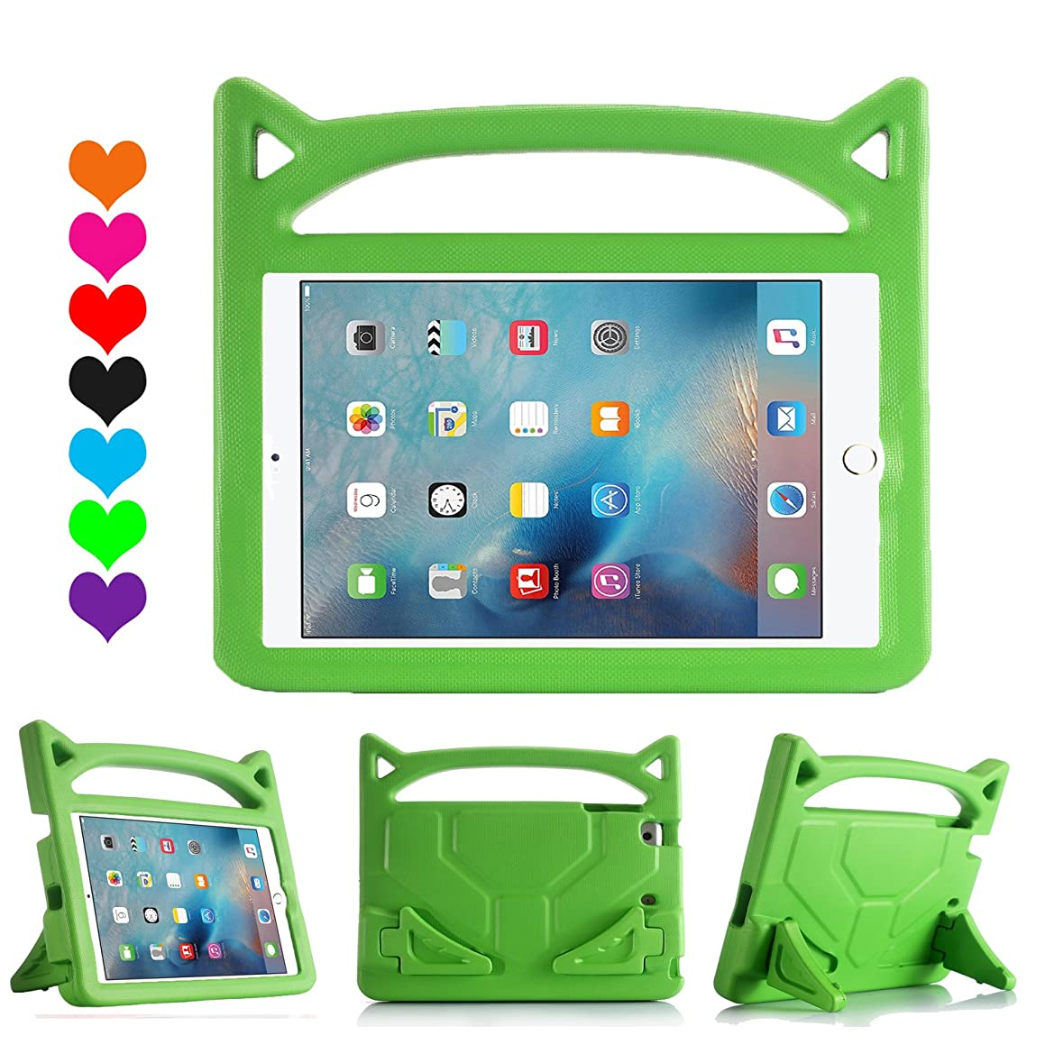 Riaour All-New iPad 9.7 2018/2017 Kids Case, Light Weight Shock Proof Handle Stand Kids Case for iPad 9.7 2017/2018 iPad Air/iPad Air 2/iPad Pro 9.7(Green) s16651163750