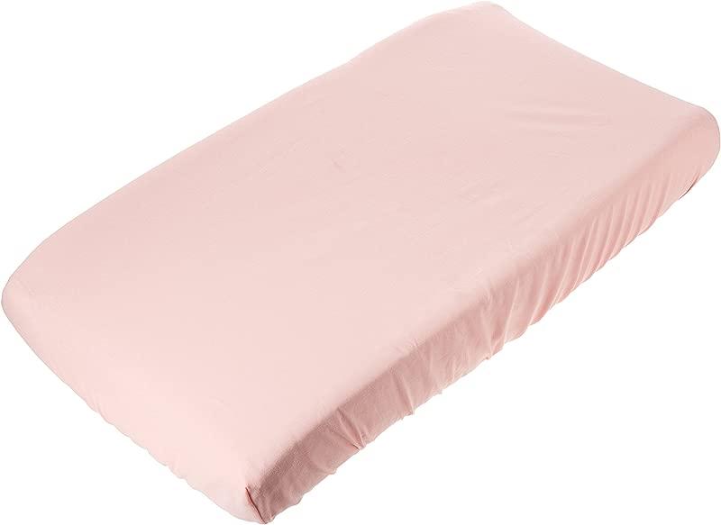 Petal Pink Linen Blend Contoured Changing Pad Cover