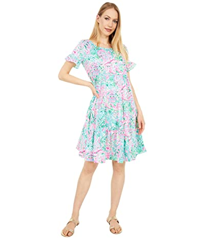 Lilly Pulitzer Jodee Dress (Bali Blue Spotted On Worth) Women