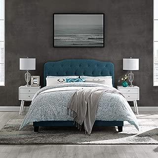Modway Amelia Tufted Fabric Upholstered King Platform Bed in Azure