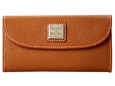 Dooney & Bourke Pebble Leather New SLGS Continental Clutch (Caramel w/ Tan Trim) Clutch Handbags