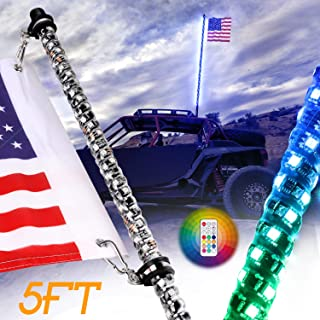 Nirider 5ft LED Whip Light with Flag Pole Remote Control Spiral RGB Chase Light Offroad Warning Lighted Antenna LED Whips for UTV, ATV, Off Road, Truck, Jeep, Sand, Buggy Dune, RZR, Can-am, Boat