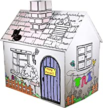 FUNTRESS Cardboard Playhouse for Kids to Color Funny Preschool Toy Paper House for Toddlers