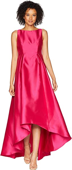 High-Low Halter Mikado Gown