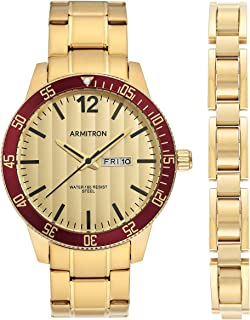 Armitron Men's Day/Date Function Gold-Tone Watch and Bracelet Set, 20/5420GDGPST