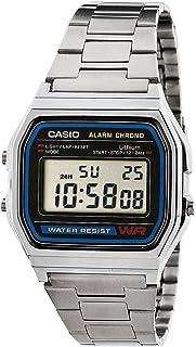 ساعة يد من كاسيو بسوار ستانلس ستيل مينا لون رمادي للرجال A158WA-1DF