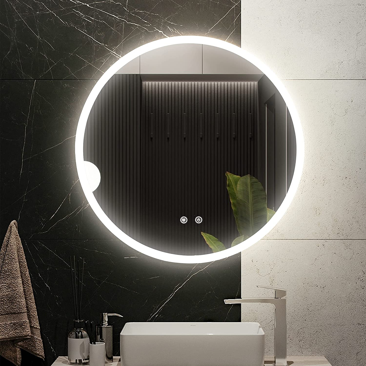 Vlsrka 24 Inch Ranking TOP15 Round Bathroom LED Lighted Mirror Wall Large-scale sale Mounted V