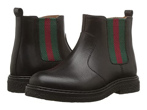 Gucci Kids Leather Boot w/ Web (Toddler)