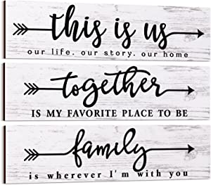 3 Pieces Farmhouse Home Decor Sign This is us Wall Decor Together Family Printed Arrow Wooden Wall Sign for Bedroom Living Room Office Home Wall Decor (White)