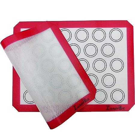LuxéArt Tapis de Cuisson en Silicone 2 Pièces sans BPA Anti-Adhérent (40 * 30cm), spéciale pâtisserie et Cuisine Parfait pour Vos Macarons + Offert 1 Livret numérique de 5 Recettes de pâtisserie