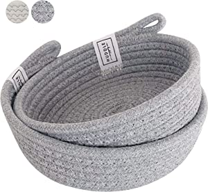 Small Basket Set - 2PC WASHABLE Small Storage Basket in 100% Cotton Small Rope Basket 7.5