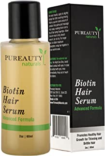 Biotin Hair Growth Serum by Pureauty Naturals - Advanced Topical Formula to Help Grow Healthy, Strong Hair - Suitable For Men &Women Of All Hair Types - Hair Loss Support