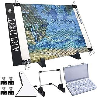 ARTDOT A4 Tablette Lumineuse Ultra-Mince Portable Planche à Dessin LED Copie Board Stepless Dimming avec Câble USB pour Di...