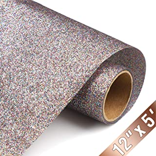 Glitter Heat Transfer Vinyl HTV Rolls 12inx5ft, Iron on HTV Vinyl Compatible with Silhouette Cameo & Cricut by TransWonder(Confety)