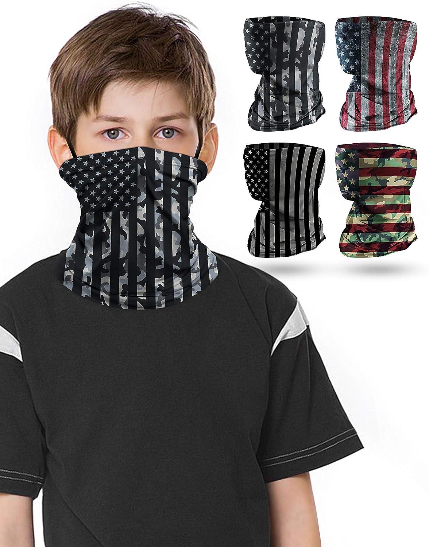 4 PCS Kids Face Mask Neck Gaiters Full-Coverage Bandanas Headband...