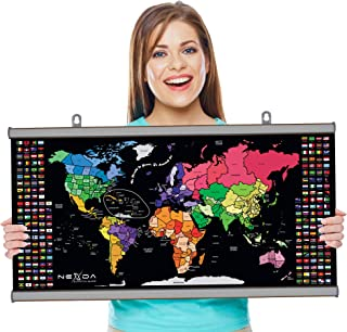 Scratch Off Map of the World with Frame By Nexda - Large 33x17 Inch Colorful Poster - Individual States, Territories and C...