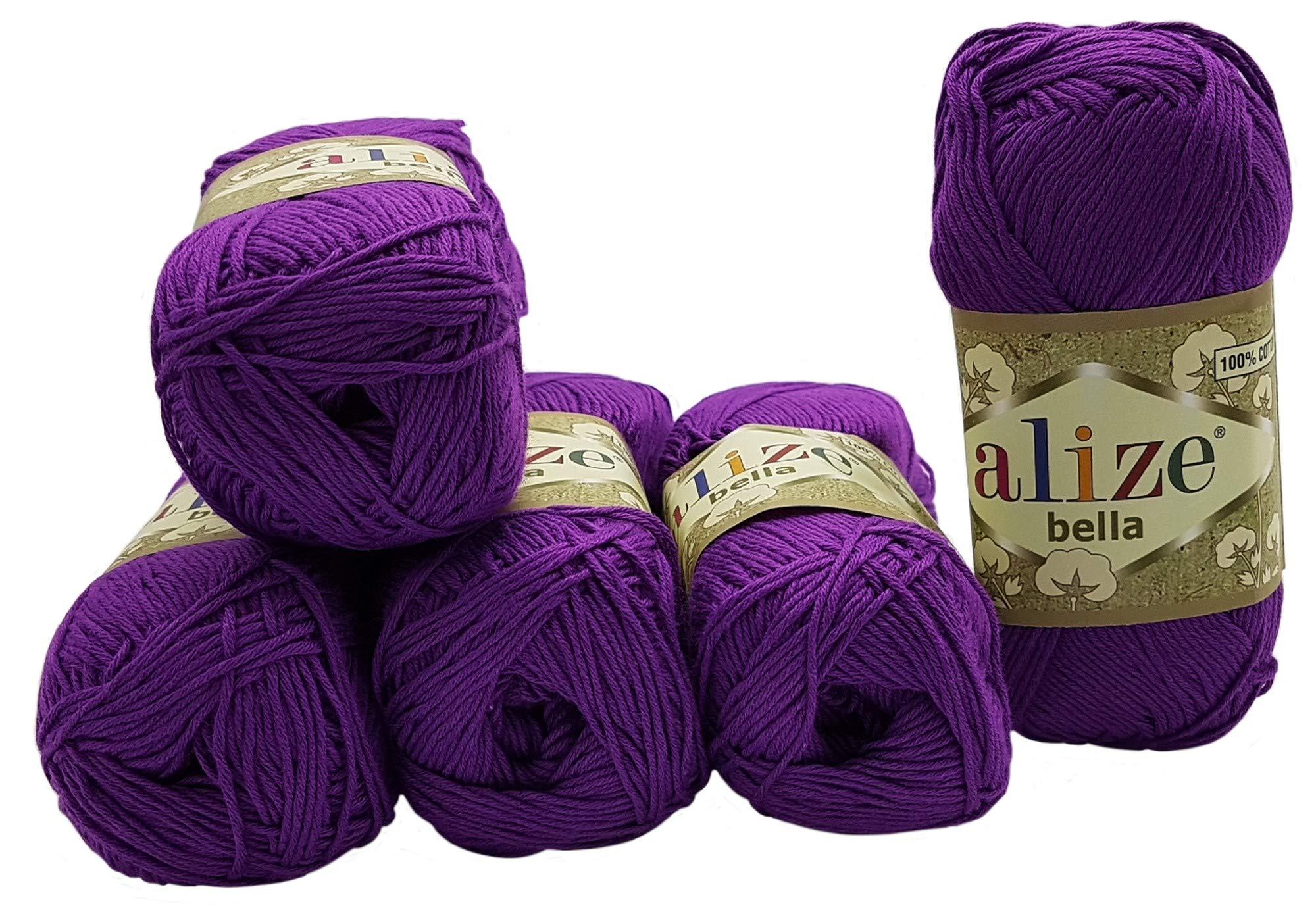 Alize Bella - Ovillo de lana para hacer punto (100 % algodón, 250 g, 5 de 50 g), color liso: Amazon.es: Juguetes y juegos