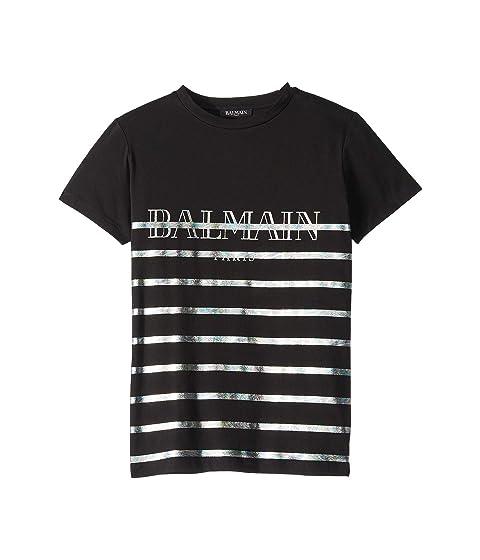 Balmain Kids Short Sleeve Striped Tee w/ Logo (Big Kids)