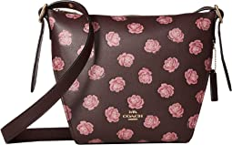 COACH Whls Rose Print Small Dufflette,Gold/Oxblood