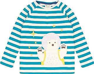 Piccalilly T-shirt à manches longues raglan pour enfant, motif à rayures bleu sarcelle, ours polaire dans l'espace