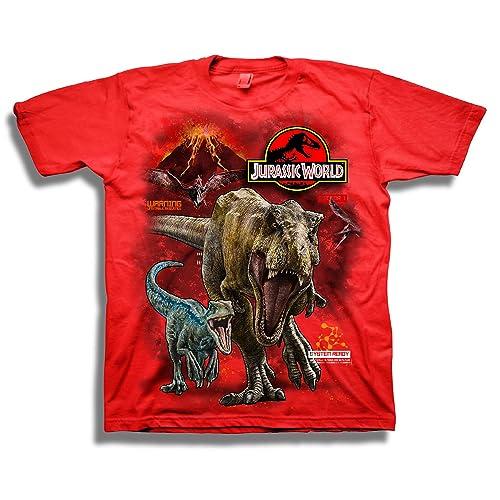 039813643 Jurassic World Boys 2 T-rex & Raptor Short Sleeve T-Shirt