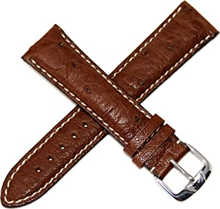 Jacques Lemans 21MM Genuine Ostrich Leather Watch Strap Brown with Contrast Stitching and Silver JL Initial Stainless Steel Buckle
