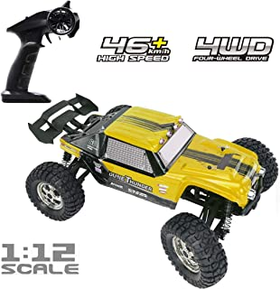 Tecesy RC Trucks 4X4 Offroad Waterproof, 1/12 Scale High Speed Remote Control Cars with LED, Off Road Monster Trucks for Adults(Yellow)