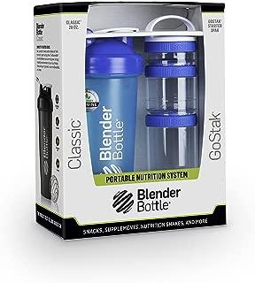 BlenderBottle Combo-Pack With Loop: (1) 28 Oz Classic Bottle + (1) GoStak Starter 3PAK (Blue)