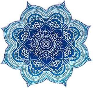 The Boho Street - 100% Cotton Large Round Lotus Flower Mandala Light Weight Tapestry (1, Blue)
