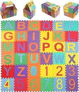 StillCool Puzzle Tapis Mousse Bébé, 36 Pièces, Tapis de Jeu Très Résistant pour Enfants, Alphabets & Chiffres(15cm x 15cm)