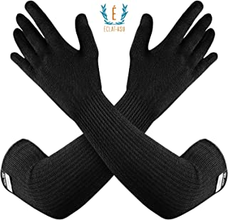 100% Kevlar Glove Arm Sleeves by Dupont- Cut, Scratch & Heat Resistant Arm Sleeve, Arm Safety Sleeves- Long Arm Protectors- Flexible & Washable- Black, 1 Pair