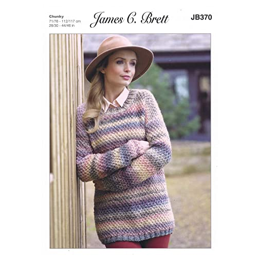 eb14583b46b98 James C Brett JB370 Knitting Pattern Ladies Sweater in Marble Chunky