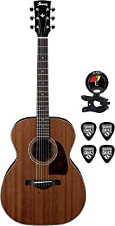 IBANEZ AC240OPN 6 Steel Strings Acoustic Guitar Bundle with Solid Mahogany Top, Clip On Tuner for Guitars and Guitars Cable Package in Natural