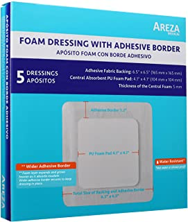 """Foam Wound Dressing with Adhesive Border 6.5"""" x 6.5"""" Central Foam: 4.1"""" x 4.1"""" Thickness 5 mm 5 per Box by Areza Medical"""