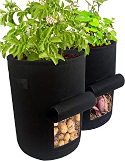 Potato Grow Bags 2 Pack 10 Gallon Planting Fabric Pots Premium Breathable Cloth Growing Potato Tomatoes Carrot Onion -Non-...