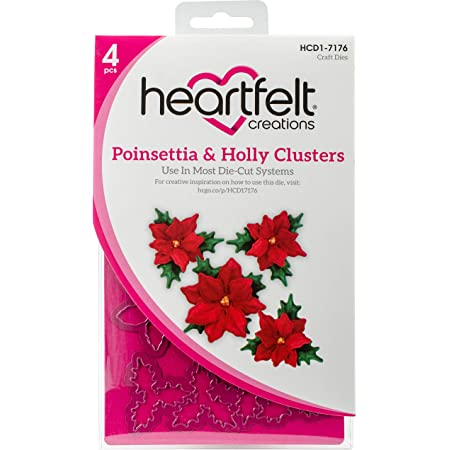 Heartfelt Creations CHRISTMAS POINSETTIA HOLLY Stamp /& Die Set 3D Shaping Mold