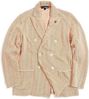 [ラルディーニ] ニットジャケット 6Bダブル ピークドラペル メンズ 春夏 コットン 100% 幾何柄 オレンジ ホワイト イタリア ブランド カジュアル ブートニエール付き M サイズ 【並行輸入品】