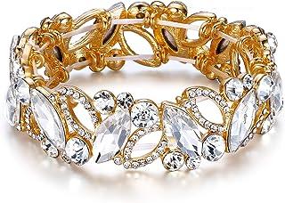 Flyonce Wedding Bridal Marquised Rhinestone Crystal Elastic Stretch Bracelets for Women Girls