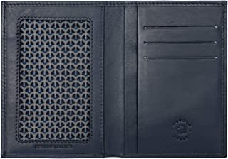 Nuvola Pelle Slim Leather Wallet for Men Minimalist Document Holder with Credit Card Pockets Blue