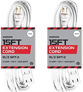 15 Ft White Extension Cord 2 Pack - 16/2 Durable Electrical Cable