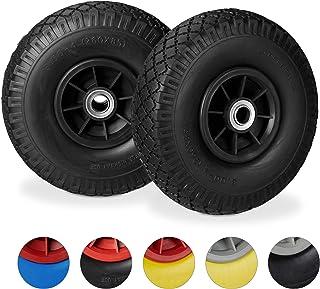 2 x steekwagenwiel, antilek bolderkarwiel, 3.00-4, 200 mm as, tot 80 kg, reservewiel 260 x 85 mm, zwart