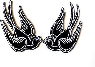 Tyga_Thai Brand Set 2 pcs. Mini Cute Black Little Bird Tattoo Swallow Dove Sparrow Logo Jacket T-Shirt Sew Iron on Embroid...